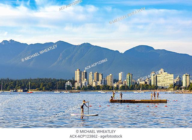 Paddleboarder, English Bay, Kitsilano, Vancouver, British Columbia, Canada