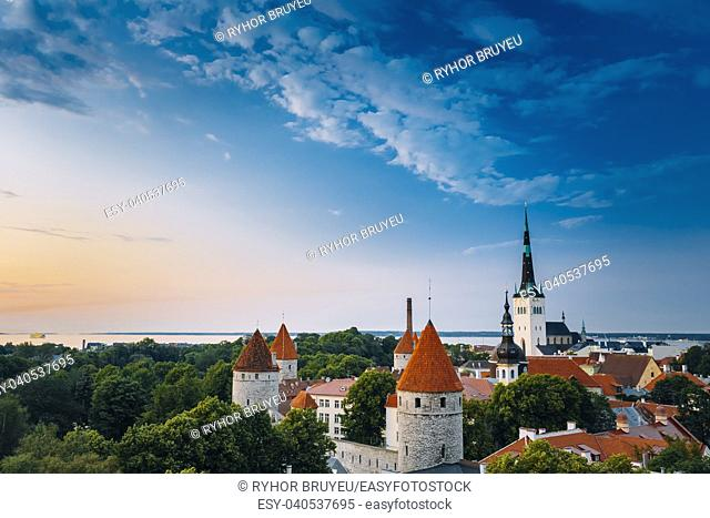 Evening Tallinn's (Estonia) Old Town Cityscape at sunset, clear blue sky. One can see the spiers of St. Nicholas Church and towers, surrounded by a park