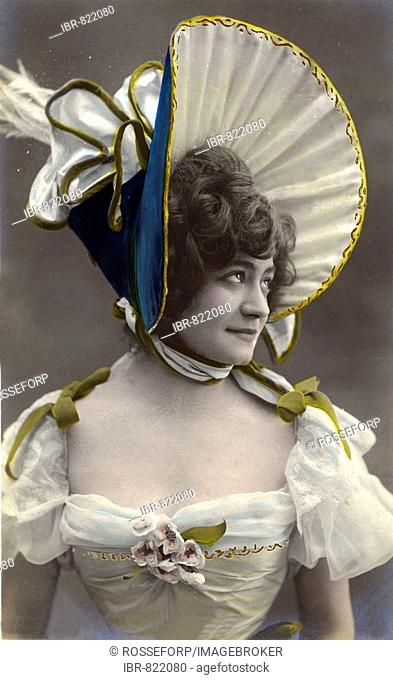 Woman wearing a funny dress with funny head-covering, historical photo, circa 1900