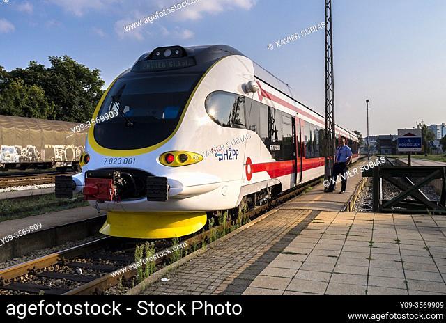 Train in the Varazdin station, Varazdin, Croatia