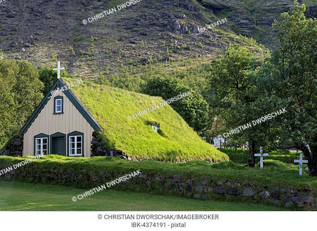 Hofskirkja, turf covered church, yard in Öræfi, Norðausturvegur, Southern Region, Iceland