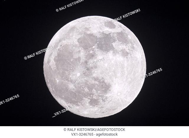 Full moon, fullmoon is shining bright , silver light, close, clear dark winter night, looks close, supermoon, detailed view, January, 2019
