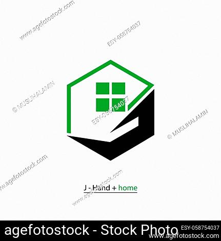 Property business logo, Home care logo template, hand (letter J) and house design concept icon, isolated on white background