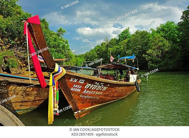boats docked in Krabi River, Krabi, Thailand