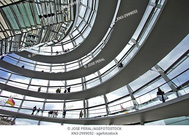 Inside of the Reichstag dome, by Norman Foster, Reichstag, House of German Parliament, Federal Parliament Building, Berlin, Germany, Europe