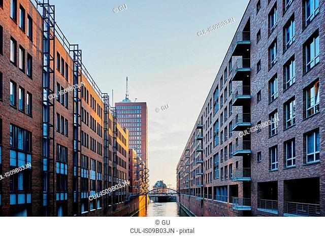 Historic warehouses and waterway, Speicherstadt, Hamburg, Germany