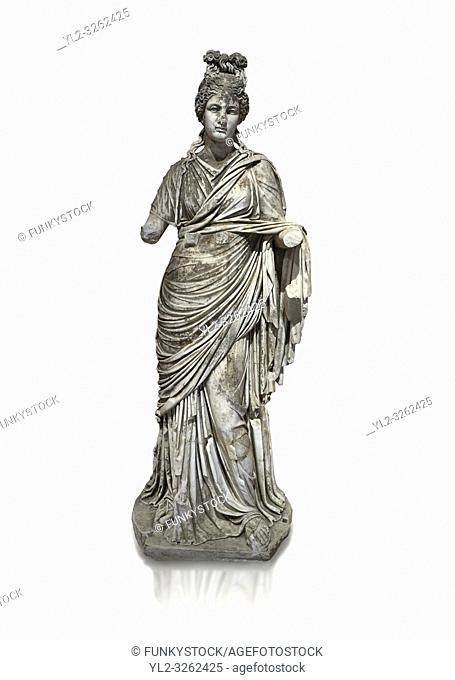 Roman statue of a woman. Marble. Perge. 2nd century AD. Inv no 2015/186. Antalya Archaeology Museum; Turkey. Against a white background