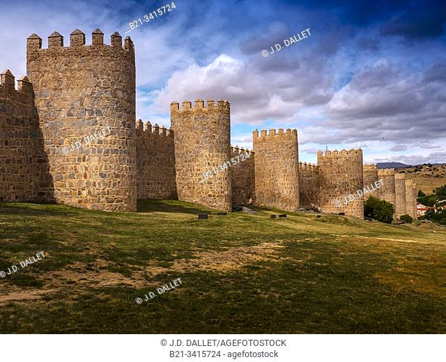Spain, Castilla-Leon, Ávila, The Walls of Ávila. Its main monument is the imposing Walls of Ávila (11th-14th centuries), begun in 1090