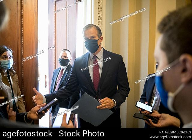 United States Senator John Thune (Republican of South Dakota) talks with reporters outside his office at the U.S. Capitol in Washington, DC, Thursday