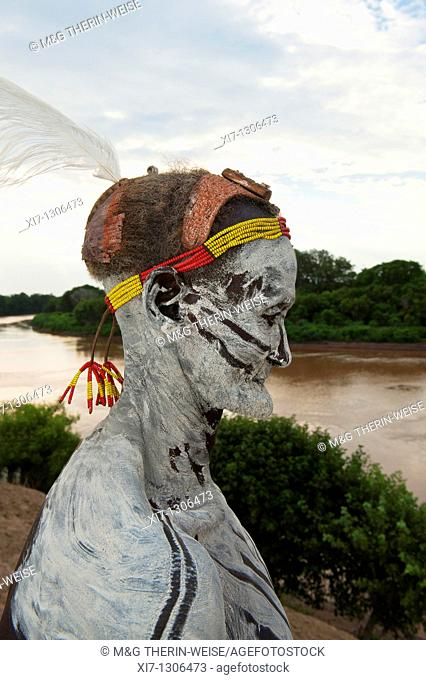 Karo man with body and facial paintings, Omo river valley, Southern Ethiopia