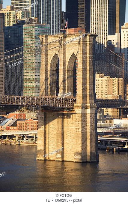USA, New York state, New York city, part of Brooklyn Bridge with skyscrapers