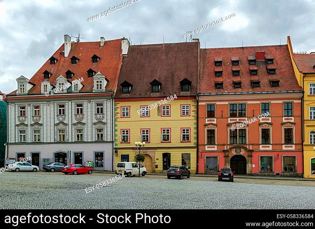 historic houses on main market square in Cheb, Czech republic