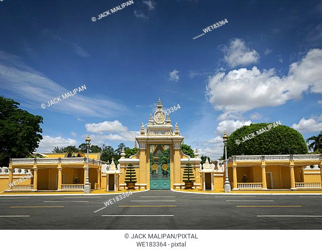 view of royal palace landmark exterior in phnom penh city cambodia