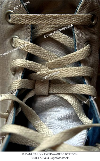 sneakers shoelace, close-up