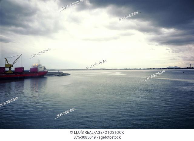 Port seen from the deck of a ferry boat. Mediterranean Coast, Puerto de Alcudia, Mallorca, Spain