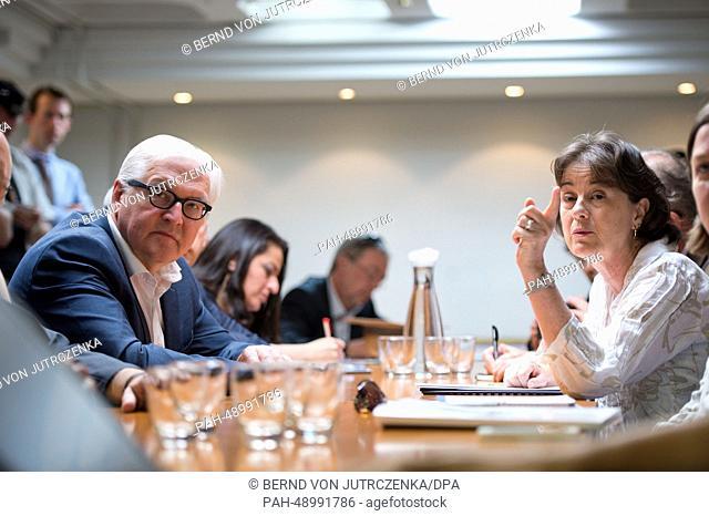 German Foreign Minister Frank-Walter Steinmeier (L)visits the UNHCRregistration center with UNHCRrepresentative in Lebanon Ninette Kelley in Ksara, Lebanon