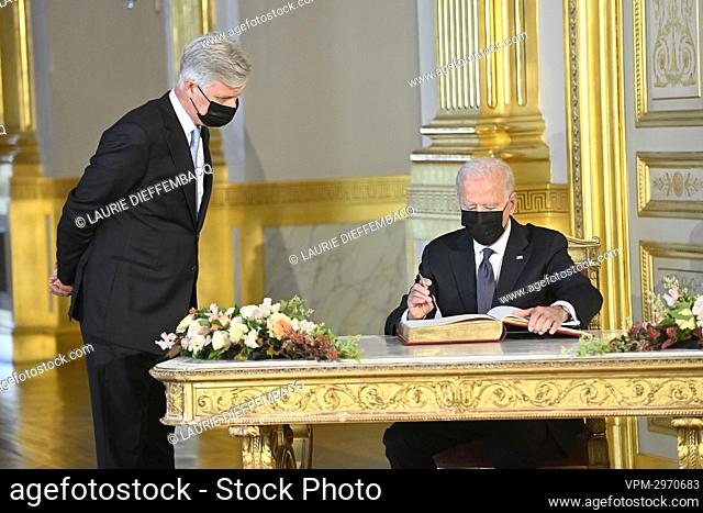 King Philippe - Filip of Belgium and US President Joe Biden pictured during an audience at the Royal Palace in Brussels, Tuesday 15 June 2021