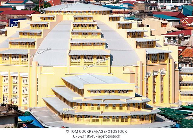 Aerial view of Central market, Phnom Penh, Cambodia