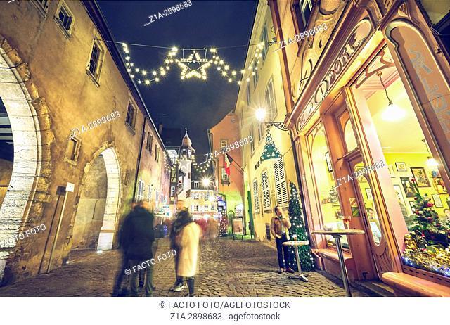 Christmast decoration at the city center. Colmar. Haut-Rhin. Alsace. France