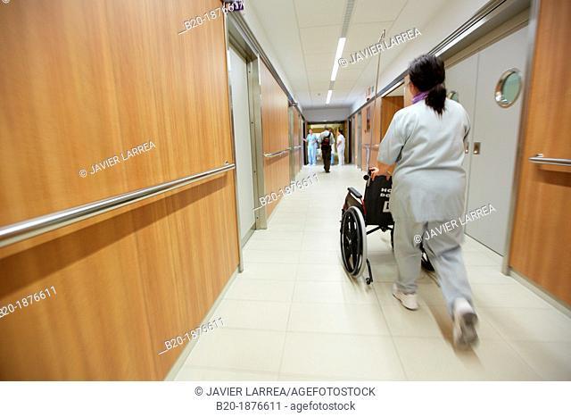 wheelchair, corridors, plant hospitalization, Hospital Donostia, San Sebastian, Gipuzkoa, Basque Country, Spain