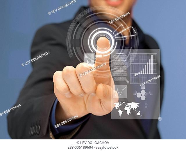business, technology and internet concept - businessman in suit pressing virtual button