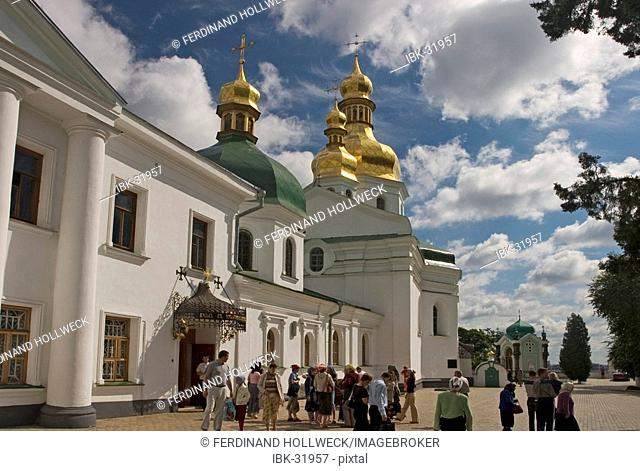 Ukraine Kiev the monastery of cave Kyjevo Pecers'ka Lavra view to church of crucify in ukrain barock style and chapel of grave from O