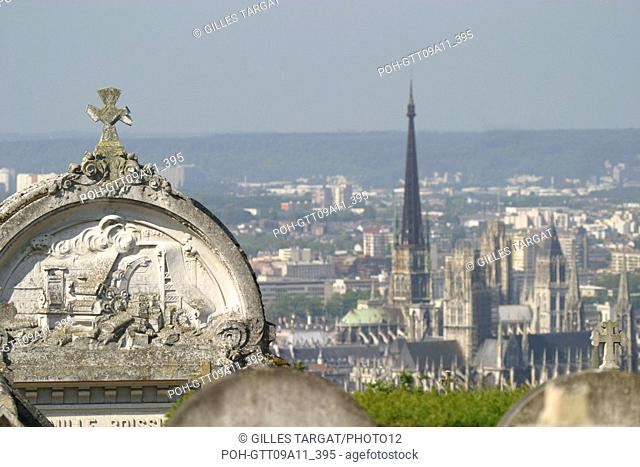 tourism, France, upper normandy, seine maritime, rouen, monumental cemetery overhanging the city, spire of the cathedrale notre dame