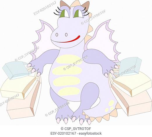 Cartoon dragon with bags
