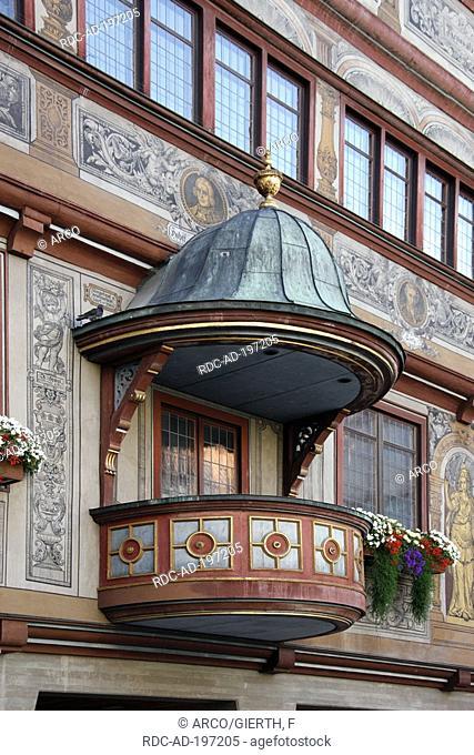 Balcony with baldachin, town hall, 1435, old town, Tubingen, Swabian Alb, Baden-Wurttemberg, Germany, Schwäbische Alb, Tübingen