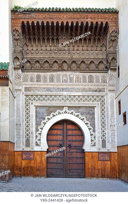 Fez, Place Nejjarine. Richly decorated door to the road house for caravans. Morocco