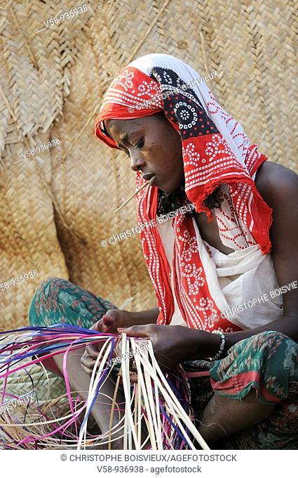 Afar women weaving mats. Ahmedila village. Afar region. Ethiopia