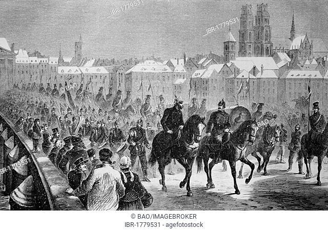 German troops crossing the Loire in Orleans on 5 December 1870, Illustrierte Kriegschronik 1870 - 1871, Illustrated War Chronicle 1870 - 1871