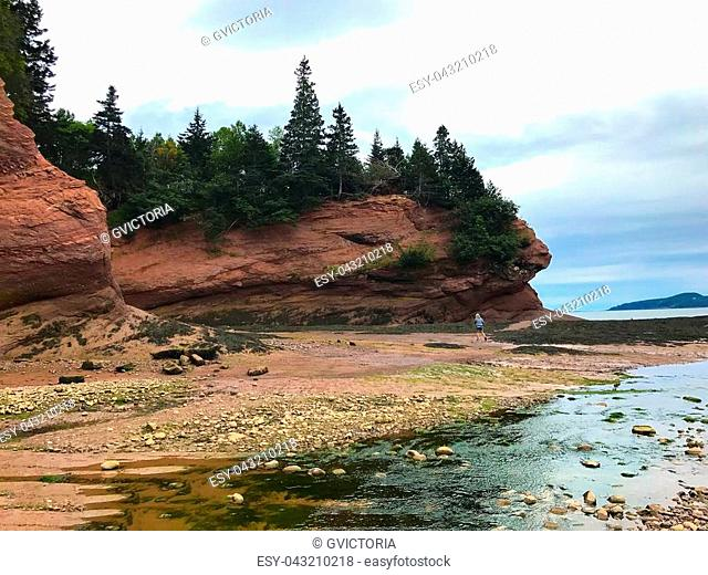 Low tide at the Caves on the Fundy coast in the Atlantic ocean in Saint Martins, New Brunswick, Canada