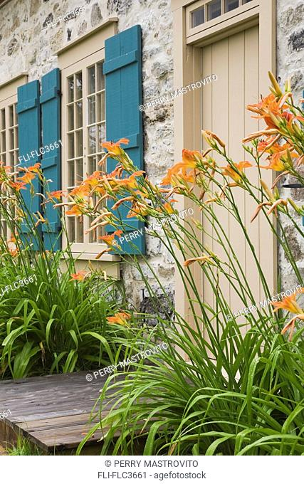 Detail of 18th century fieldstone cottage style home, Quebec, Canada