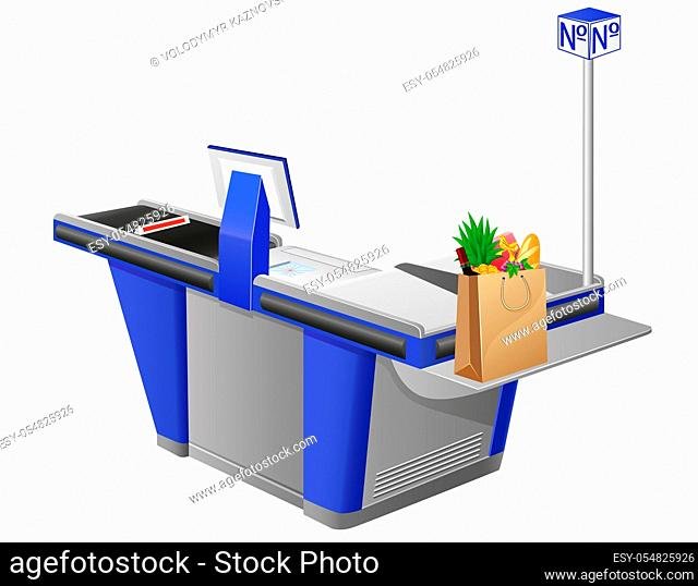 cash register terminal and shopping bag with foods vector illustration