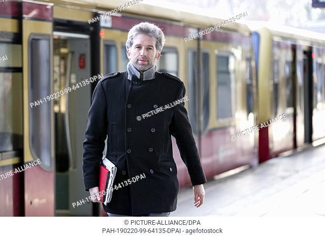 20 February 2019, Berlin: Boris Palmer (Bündnis 90/Die Grünen), Lord Mayor of Tübingen, will get off at the S-Bahn station Berlin Messe Süd to take part in a...