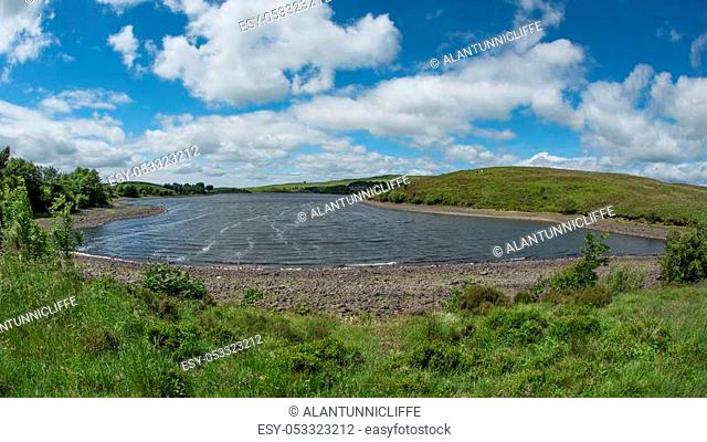 Landscape of Killington lake reservoir located in near Kendal South Lakeland District of Cumbria UK