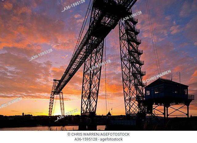 Transporter Bridge Newport Gwent Wales at sunset