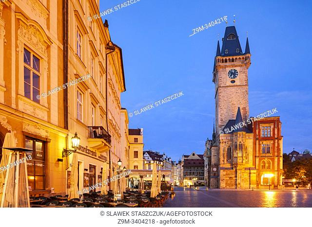 Dawn in Prague old town, Czechia