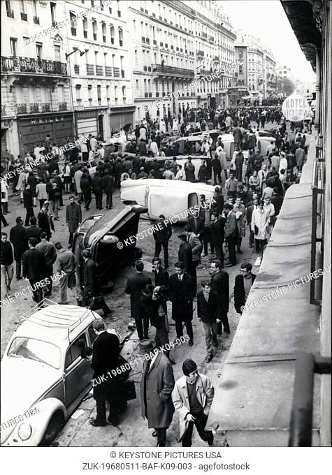 May 11, 1968 - Student Riot in Paris's Latin Quarter Leads to Overturned Cars (Credit Image: © Keystone Press Agency/Keystone USA via ZUMAPRESS.com)