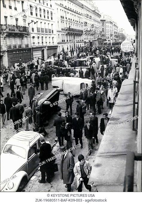 May 11, 1968 - Student Riot in Paris's Latin Quarter Leads to Overturned Cars (Credit Image: © Keystone Press Agency/Keystone USA via ZUMAPRESS.com)