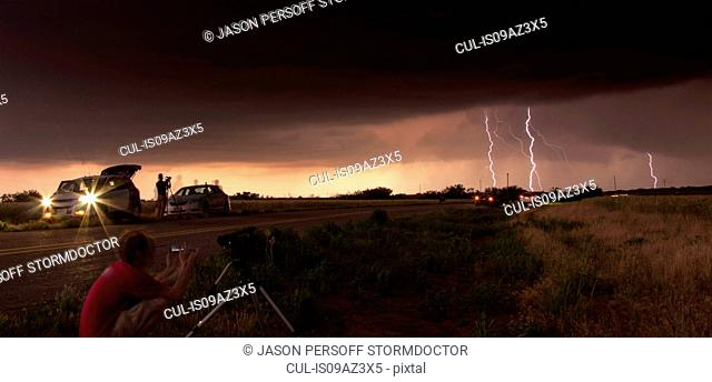 Storm chaser tracking tornadic thunderstorm in the Texas Panhandle