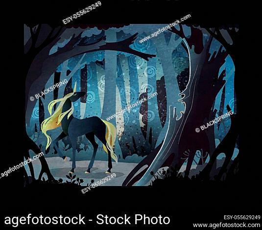 Fairy tale vector illustration. Black unicorn in front of dark misty forest