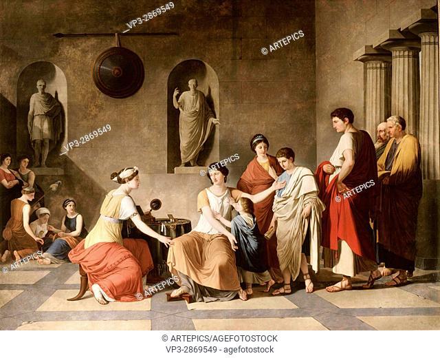Joseph-Benoit Suvée (1743-1817) . . Flemish School. . Cornelia, Mother of the Gracchi (Rome, 2nd century B. C. ). . 19th century. . Oil on canvas (3
