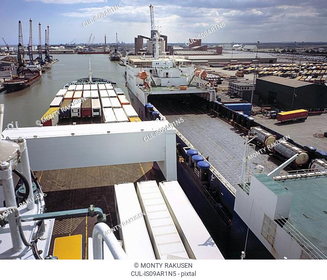 High angle view from roll on roll off ferry in port, Grimsby, England, United Kingdom