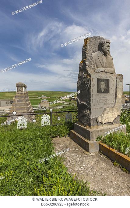 Armenia, Lake Sevan, Noratus, town cemetery, modern khachkar monuments