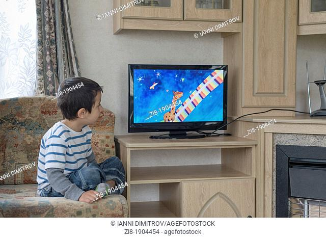 Child watches television