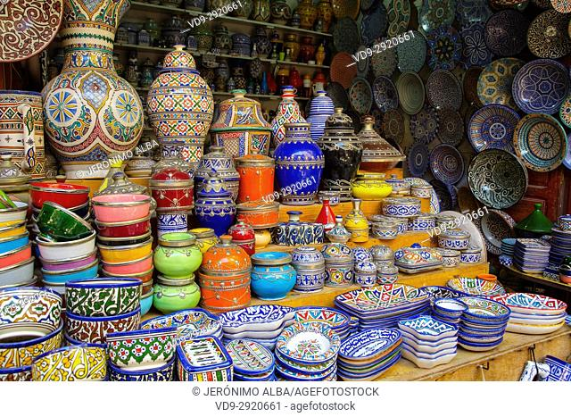 Ceramic and craft shop, Souk Medina of Fez, Fes el Bali. Morocco, Maghreb North Africa