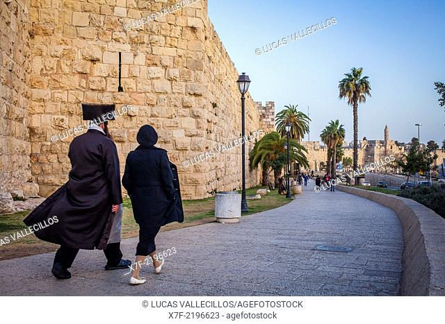 Walls of old city, in background at right the Citadel of David, Jerusalem, Israel