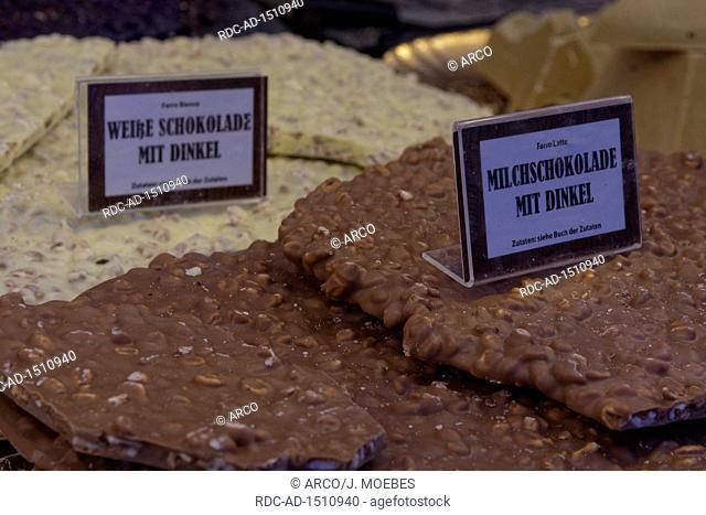 different chocolates, chocolate festival, Tuebingen, Baden-Wurttemberg, Germany, Europe